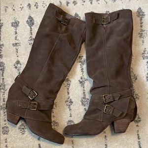 NAUGHTY MONKEY Brown Suede Leather Risk It Boots